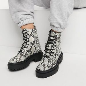 EGO Official Snake Print Lace Up Boots